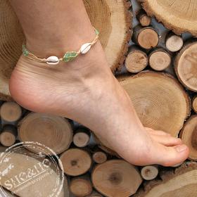Bransoletka na nogę - Szkiełko - zielone z muszelkami