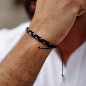Bransoletka męska - Big braid - black/gray