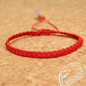 Bransoletka sznurkowa - Double braid - red